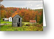Shed Photo Greeting Cards - Autumn Farm Greeting Card by Steve Harrington
