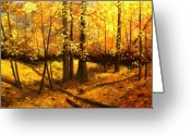 Featured Painting Greeting Cards - Autumns Hidden Sanctuary II Greeting Card by Connie Tom
