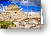 Natural Formations Greeting Cards - Badlands in Alberta Greeting Card by Elena Elisseeva