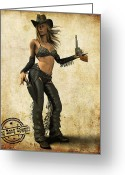 Frederico Borges Greeting Cards - Bang Bang Cowgirl Greeting Card by Frederico Borges