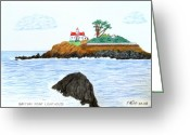 Historic Lighthouse Drawings Greeting Cards - Battery Point Lighthouse Greeting Card by Frederic Kohli
