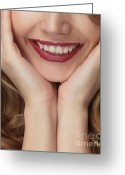 Chin Up Greeting Cards - Beautiful Young Smiling Woman Greeting Card by Oleksiy Maksymenko
