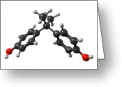 Lowered Greeting Cards - Bisphenol A Organic Pollutant Molecule Greeting Card by Dr Mark J. Winter