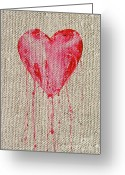 Cry Mixed Media Greeting Cards - Bleeding Heart Greeting Card by Michal Boubin