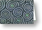 Spirals Sculpture Greeting Cards - Bleus En Spirale Greeting Card by Jacques Vesery