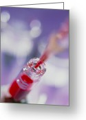 Sample Greeting Cards - Blood Sample Being Pipetted Into A Sample Bottle Greeting Card by Tek Image