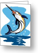 Game Greeting Cards - Blue Marlin Jumping Greeting Card by Aloysius Patrimonio