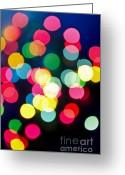 December Greeting Cards - Blurred Christmas lights Greeting Card by Elena Elisseeva