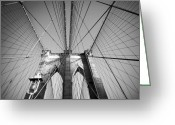 Brick Streets Greeting Cards - Brooklyn Bridge Greeting Card by Svetlana Sewell