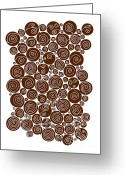 Contemporary Drawings Greeting Cards - Brown Abstract Greeting Card by Frank Tschakert