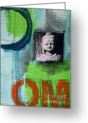 Om Greeting Cards - Buddha Greeting Card by Linda Woods