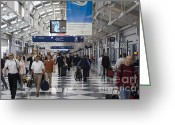 Airport Concourse Greeting Cards - Busy airport terminal concourse at Chicagos OHare airport Greeting Card by Purcell Pictures