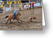 Throw Photo Greeting Cards - Calf Roping at the Calgary Stampede Greeting Card by Louise Heusinkveld