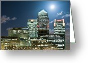 Canary Greeting Cards - Canary Wharf At Night Greeting Card by John Harper