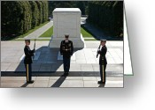 Soldier Photo Greeting Cards - Changing Of Guard At Arlington National Greeting Card by Terry Moore