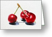 Watercolor By Irina Greeting Cards - Cherries Greeting Card by Irina Sztukowski