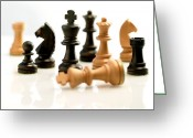 Game Piece Greeting Cards - Chess Pieces Greeting Card by Tony Mcconnell