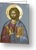 Icon Byzantine Greeting Cards - Christ Pantokrator Greeting Card by Julia Bridget Hayes