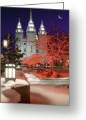 Salt Lake City Temple Photo Greeting Cards - Christmas Lights at Temple Square Greeting Card by Utah Images