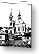 Cityspace Greeting Cards - Church of St Nikolas Greeting Card by Michal Boubin