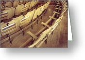 Wood Floors Greeting Cards - Church Pews Greeting Card by Steven  Michael