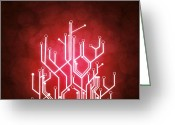 Graphic Greeting Cards - Circuit Board Greeting Card by Setsiri Silapasuwanchai