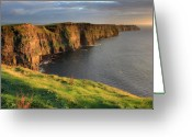 Sunset Greeting Cards - Cliffs of Moher co. Clare Ireland Greeting Card by Pierre Leclerc