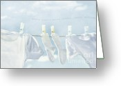 Hang Greeting Cards - Clothes hanging on clothesline Greeting Card by Sandra Cunningham