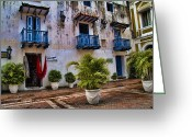 Heritage Greeting Cards - Colonial buildings in old Cartagena Colombia Greeting Card by David Smith