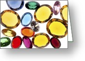 Illuminated Glass Greeting Cards - Colorful Gems Greeting Card by Setsiri Silapasuwanchai