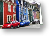 Home Greeting Cards - Colorful houses in St. Johns Greeting Card by Elena Elisseeva