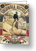 Penny Farthing Greeting Cards - Columbia Bicycles Poster Greeting Card by Granger