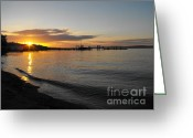 Commencement Bay Greeting Cards - Commencement Bay Sunset Greeting Card by Paulina Roybal