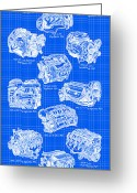 Big Block Chevy Greeting Cards - Corvette Power - Corvette Engines Blueprint Greeting Card by K Scott Teeters