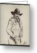 Cowboy Sketches Greeting Cards - Cowboy Allen Greeting Card by Cheryl Poland