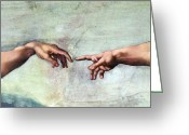 Fingertips Greeting Cards - Creation Of Adam Greeting Card by Sheila Terry