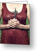 Sacrifice Greeting Cards - Crucifix Greeting Card by Joana Kruse