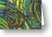 Curved Lines Greeting Cards - Curved Lines 4 Greeting Card by Sarah Loft