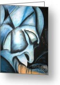 African American Art Drawings Greeting Cards - Da Blue Man Greeting Card by Adrian Pickett