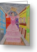 Puerto Rico Drawings Greeting Cards - Dancer in Viejo San Juan Greeting Card by Jessica Cruz