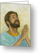Faith Pastels Greeting Cards - Daniel Praying Greeting Card by Robert Casilla