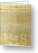 Historical Document Greeting Cards - Declaration Of Independence Greeting Card by Photo Researchers, Inc.