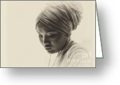 Turban Greeting Cards - Deep in thought Greeting Card by Sheila Smart
