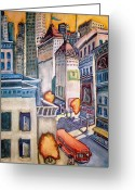 Skylines Painting Greeting Cards - Downtown Greeting Card by Steven Holder