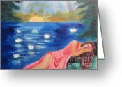 Diana Riukas Greeting Cards - Dreaming at Lotus Lake Greeting Card by Diana Riukas