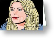 Drew Barrymore Greeting Cards - Drew Greeting Card by Richard Heyman