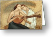 Japan Painting Greeting Cards - Duet Greeting Card by Nicolay  Reznichenko