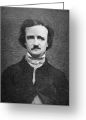 Cole Greeting Cards - Edgar Allan Poe (1809-1849) Greeting Card by Granger