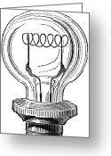 Filament Greeting Cards - EDISON LAMP, 19th CENTURY Greeting Card by Granger