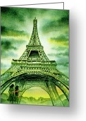 Watercolor By Irina Greeting Cards - Eiffel Tower Paris France Greeting Card by Irina Sztukowski